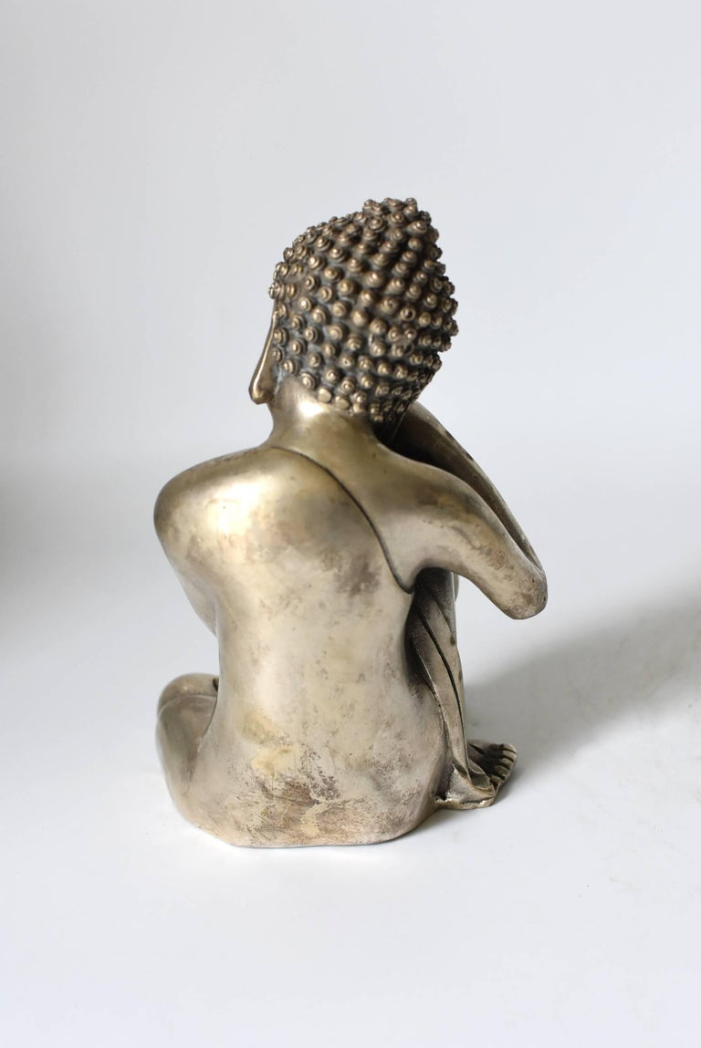 Silvered Brass Buddha Statue, a Thinking Buddha In Good Condition For Sale In Somis, CA