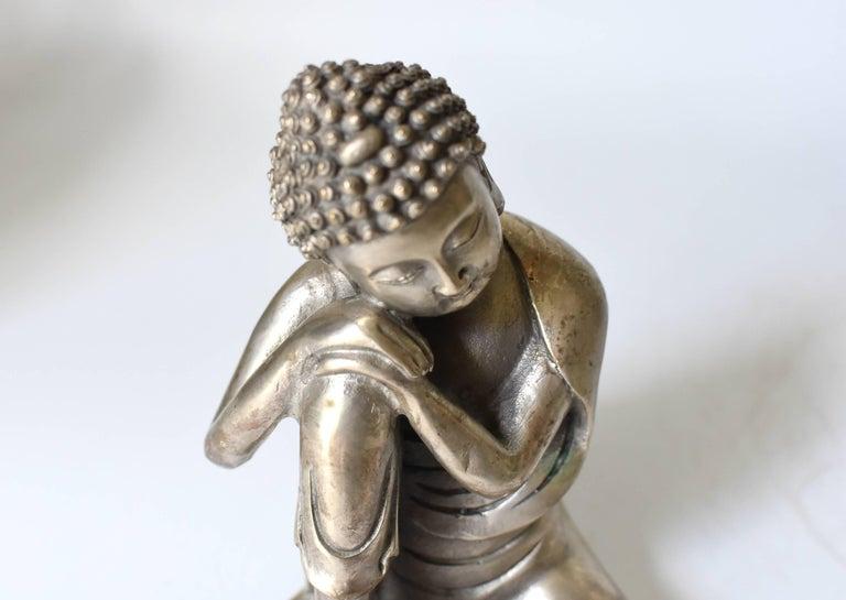 Silvered Brass Buddha Statue, a Thinking Buddha For Sale 1