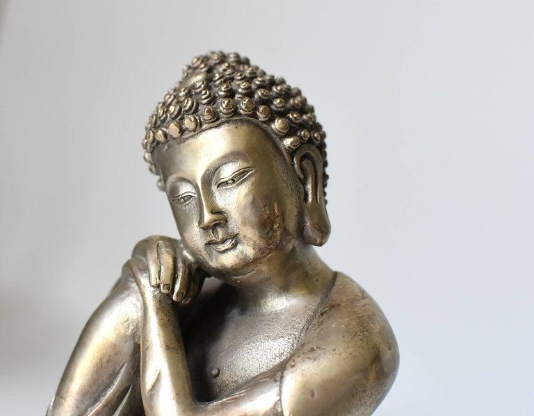 Silvered Brass Buddha Statue, a Thinking Buddha For Sale 2