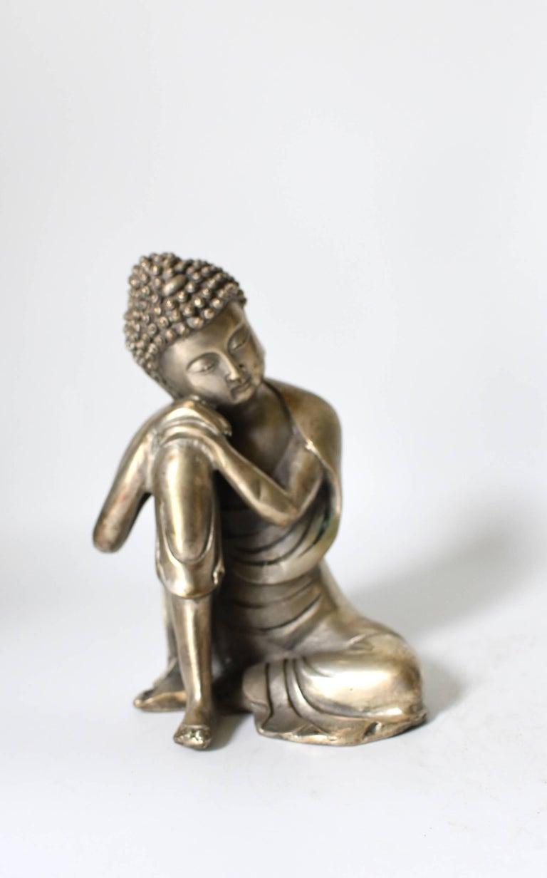 Silvered Brass Buddha Statue, a Thinking Buddha For Sale 5