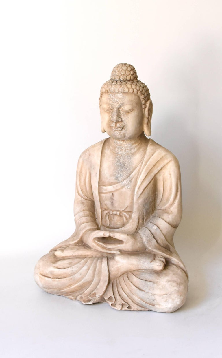 Carved Stone Statue : White marble stone buddha statue hand carved at stdibs