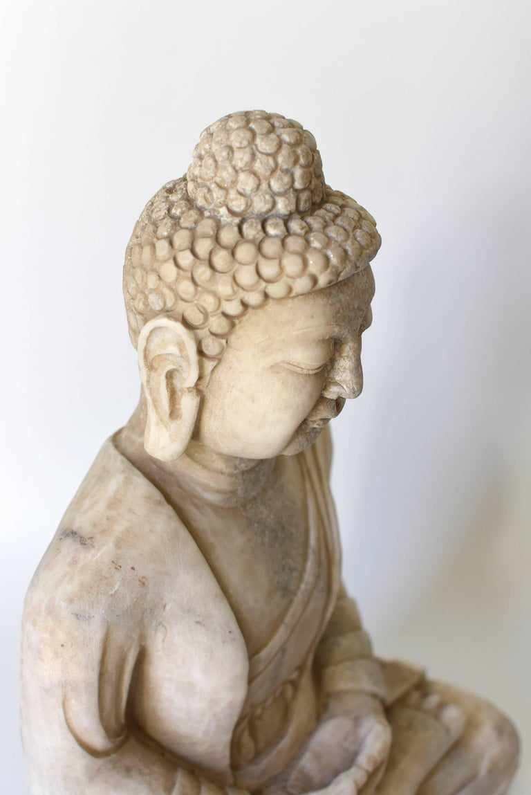 White Marble Stone Buddha Statue Hand Carved At 1stdibs