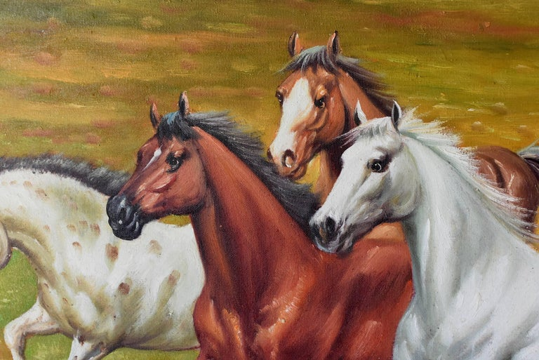 Chinese Horses Oil Painting, Signed For Sale