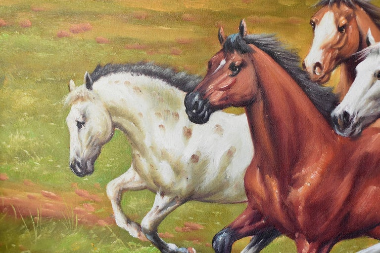 20th Century Horses Oil Painting, Signed For Sale
