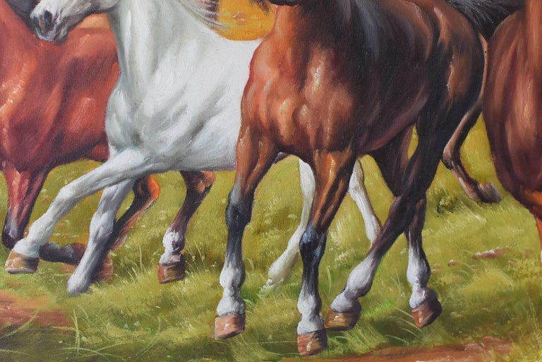 Horses Oil Painting, Signed For Sale 1