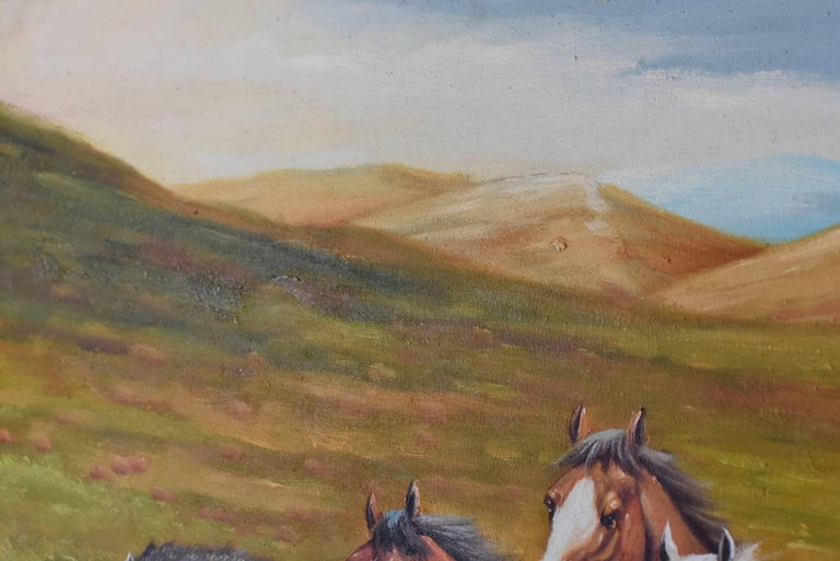 Horses Oil Painting, Signed For Sale 3