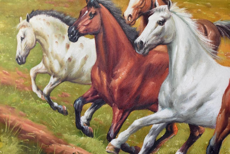 Horses Oil Painting, Signed In Good Condition For Sale In Somis, CA