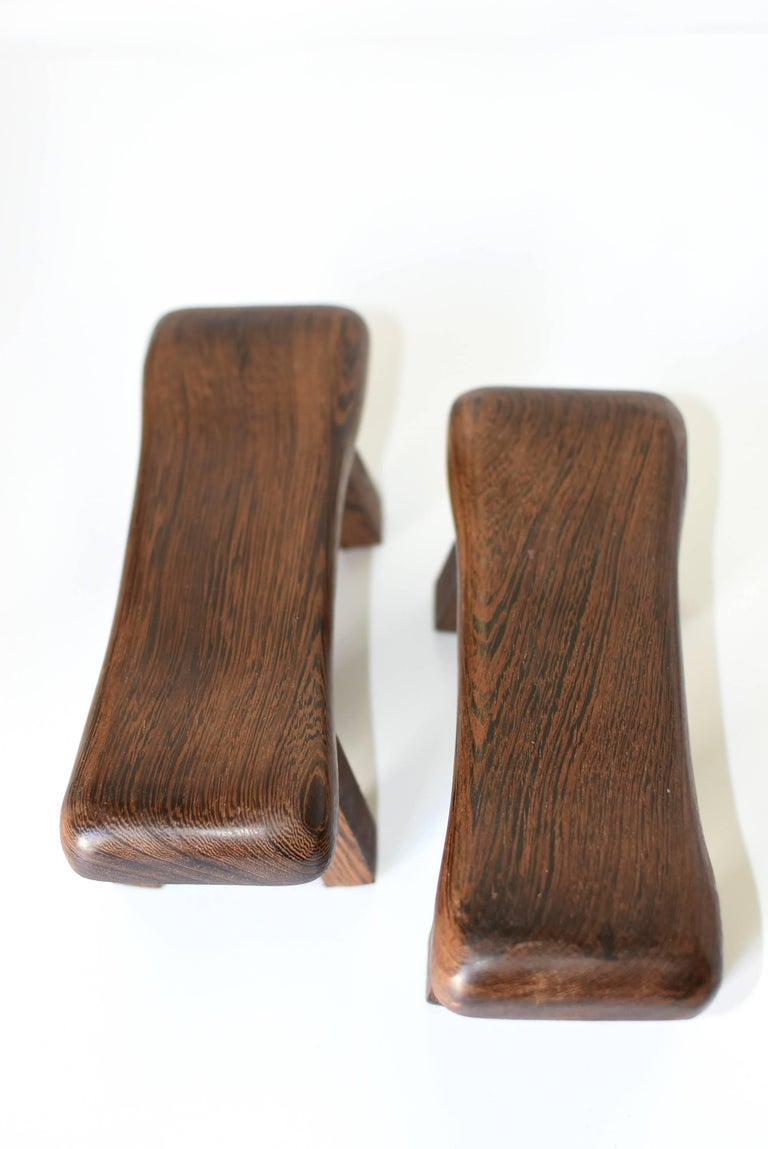 Contemporary Pair of Wenge Wood Mini Stools, Headrests, Stands For Sale