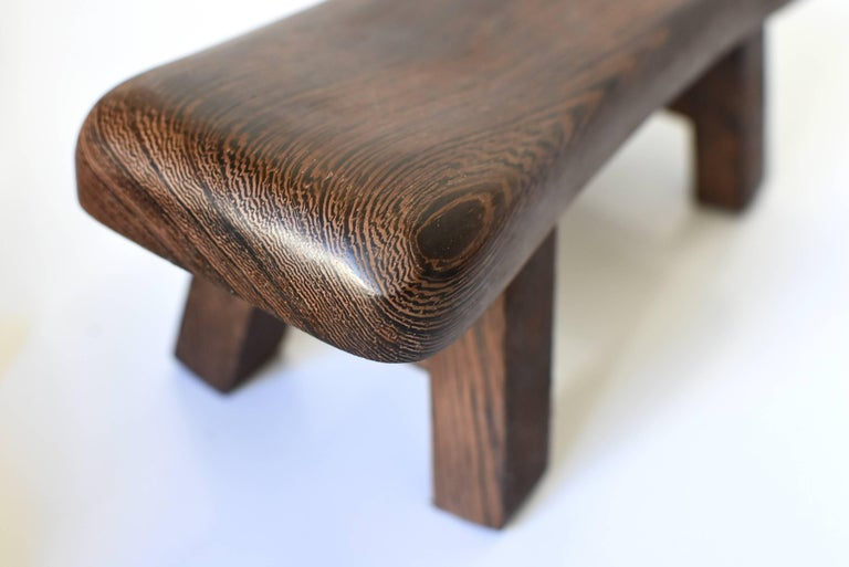 Pair of Wenge Wood Mini Stools, Headrests, Stands For Sale 1
