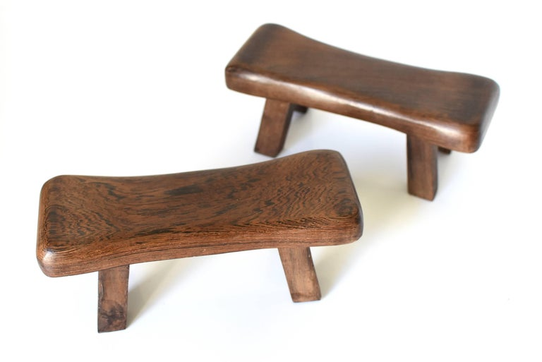 Pair of Wenge Wood Mini Stools, Headrests, Stands For Sale 2