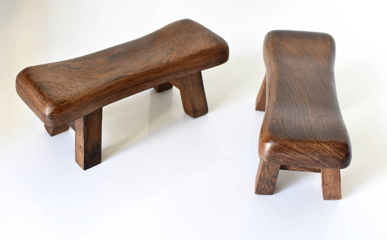 Pair of Wenge Wood Mini Stools, Headrests, Stands For Sale 3