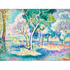 """Jean Mezinger """"Arbres pres d'une riviere """", 1905"""