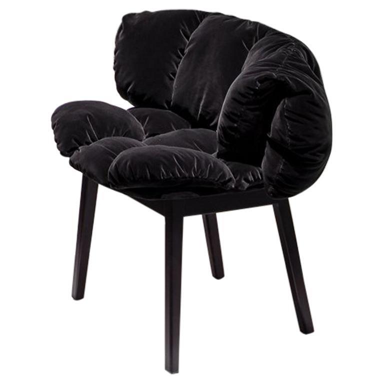 Blue Velvet Side Chair in Grey by Fernando & Humberto Campana For Sale