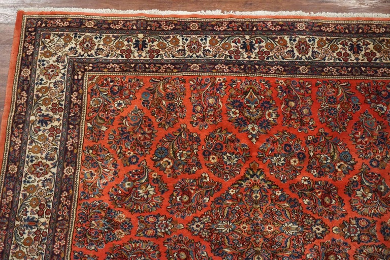 Square Antique Persian Sarouk Rug Circa 1930 For Sale At