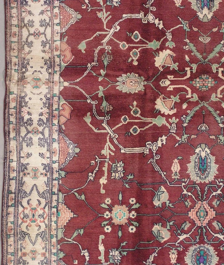 Antique Cotton Agra Rug With Abrash Circa 1900 For Sale: Fine Antique Indian Agra Rug, Circa 1900 For Sale At 1stdibs