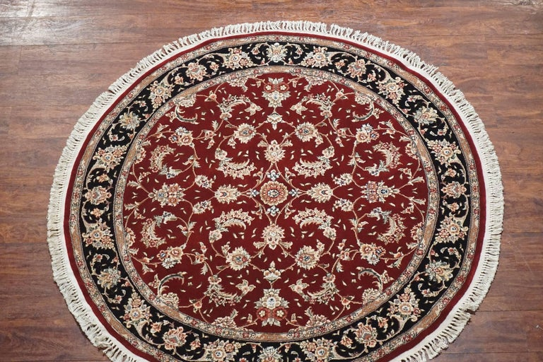 Round Burgundy Persian Tabriz Area Rug For Sale At 1stdibs