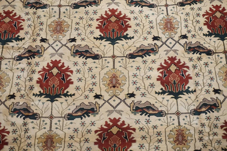 Art And Craft Hand Knotted Wool Area Rug For Sale At 1stdibs