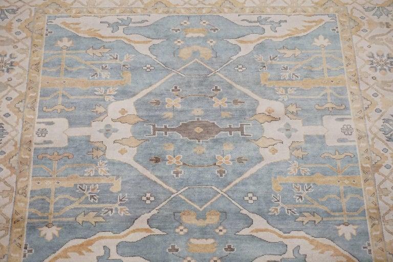 Light Blue Square Oushak Design Rug For Sale At 1stdibs