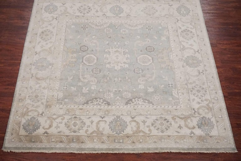 Pale Green Square Oushak Area Rug For Sale At 1stdibs