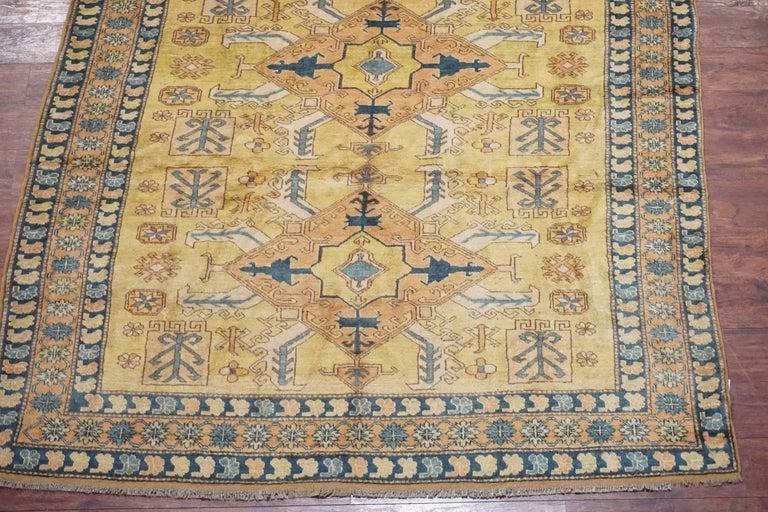 Hand-Knotted Antique Square Caucasus Kazak Rug, circa 1900 For Sale