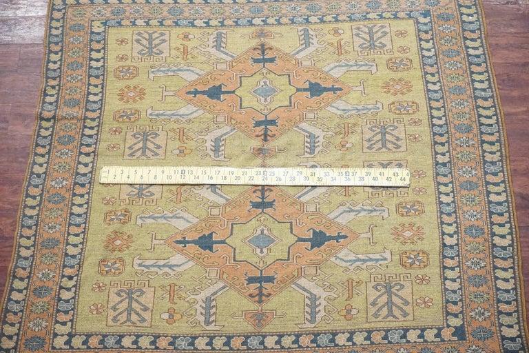 Antique Square Caucasus Kazak Rug, circa 1900 In Good Condition For Sale In Van Nuys, CA