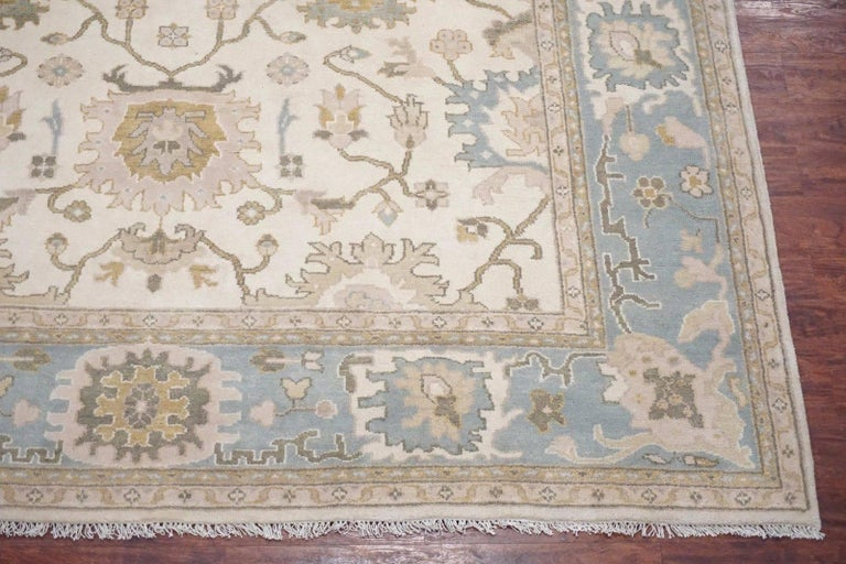 Beige Vegetable Dyed Oushak Area Rug For Sale At 1stdibs