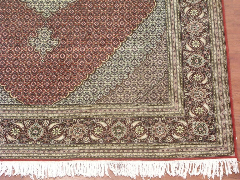 Persian Wool And Silk Tabriz Mahi In Excellent Condition For Van Nuys Ca