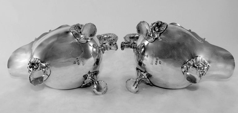 Silver Pair of Cream Jars, William Comyns & Sons Ltd, London, 1930 For Sale 1