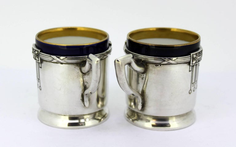 Antique Austrian Silver and Porcelain Enameled Cups, circa 1867-1872 by FR In Excellent Condition For Sale In Braintree, GB