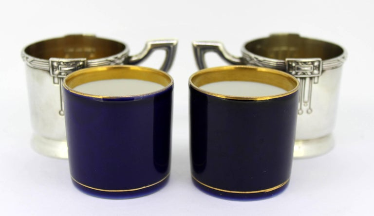 Antique Austrian Silver and Porcelain Enameled Cups, circa 1867-1872 by FR For Sale 2