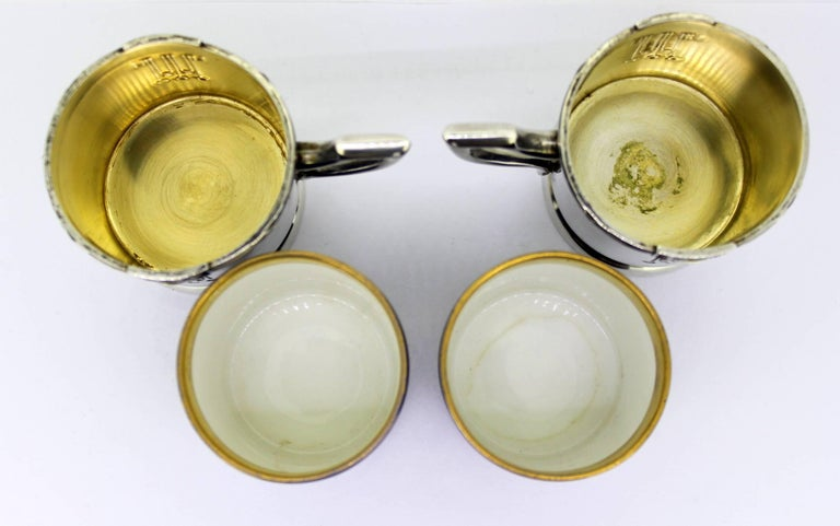 Antique Austrian Silver and Porcelain Enameled Cups, circa 1867-1872 by FR For Sale 3