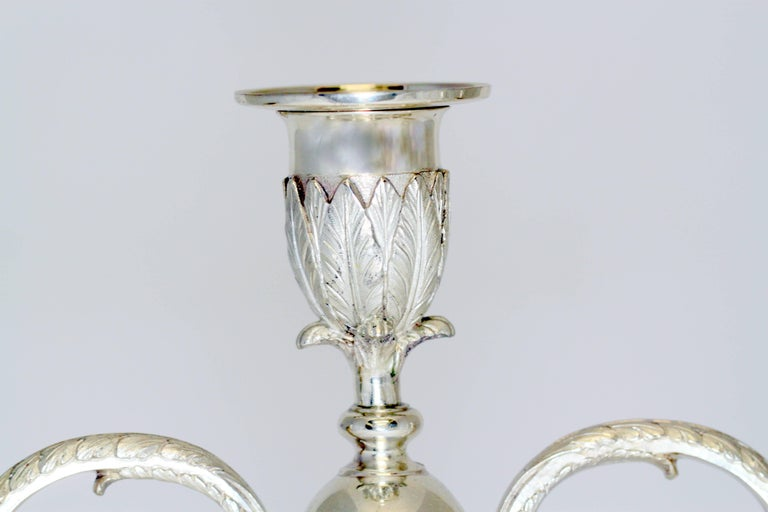 Mid-20th Century Asprey & Co - Sterling Silver Pair of Candlelaras, London 1961 For Sale