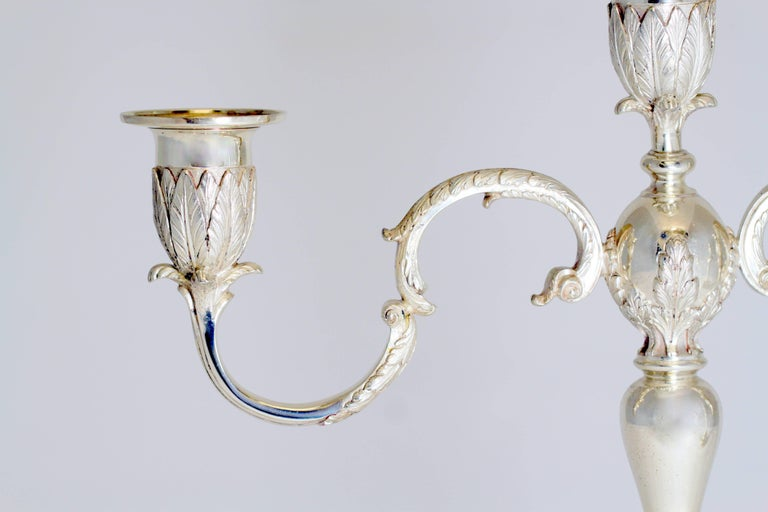 Asprey & Co - Sterling Silver Pair of Candlelaras, London 1961 For Sale 1