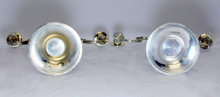 Asprey & Co - Sterling Silver Pair of Candlelaras, London 1961 For Sale 5