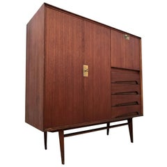 Italian Midcentury Teak Wood Sideboard with Secretaire by Vittorio Dassi, 1950s
