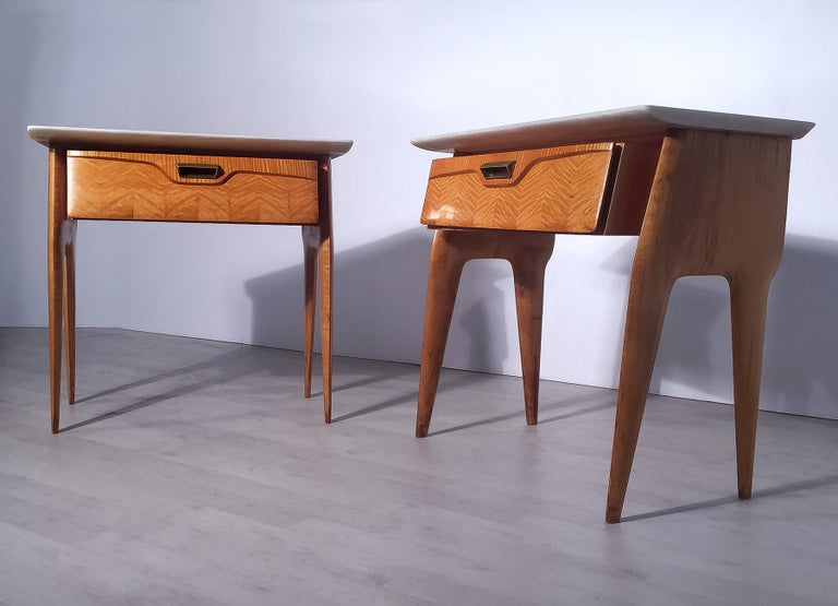 Mid-Century Modern Italian Mid-Century Maple Bedside Tables or Nightstand by Cantù, 1950s, Set of 2 For Sale