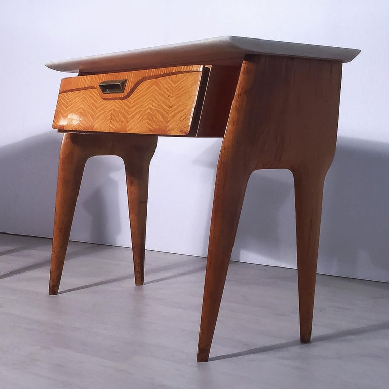 Veneer Italian Mid-Century Maple Bedside Tables or Nightstand by Cantù, 1950s, Set of 2 For Sale