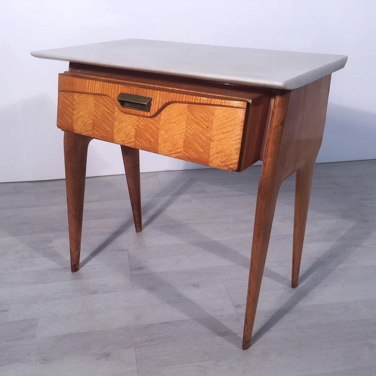 Italian Mid-Century Maple Bedside Tables or Nightstand by Cantù, 1950s, Set of 2 In Good Condition For Sale In Traversetolo, IT