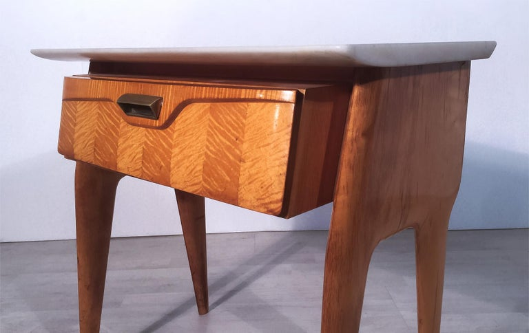 Mid-20th Century Italian Mid-Century Maple Bedside Tables or Nightstand by Cantù, 1950s, Set of 2 For Sale