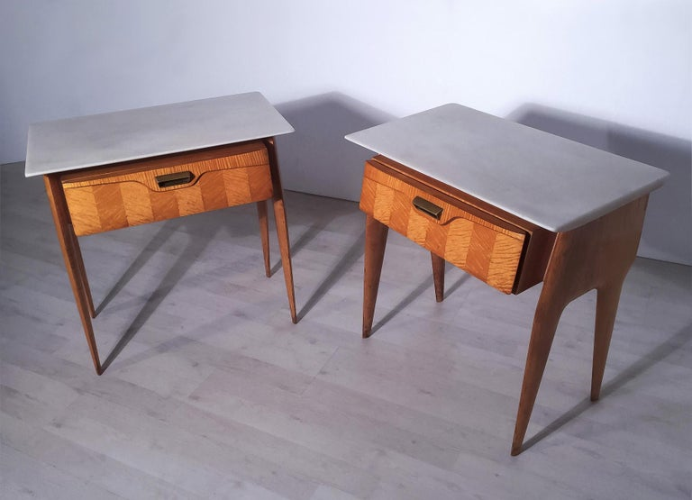 Marble Italian Mid-Century Maple Bedside Tables or Nightstand by Cantù, 1950s, Set of 2 For Sale