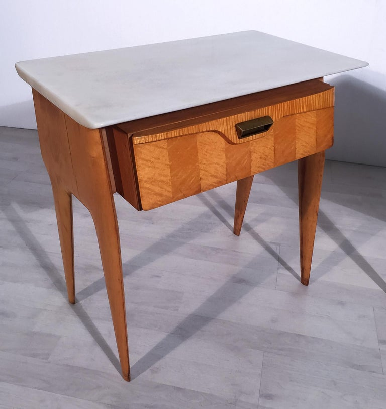 Italian Mid-Century Maple Bedside Tables or Nightstand by Cantù, 1950s, Set of 2 For Sale 1
