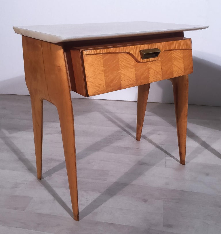 Italian Mid-Century Maple Bedside Tables or Nightstand by Cantù, 1950s, Set of 2 For Sale 2