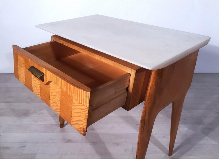 Italian Mid-Century Maple Bedside Tables or Nightstand by Cantù, 1950s, Set of 2 For Sale 3