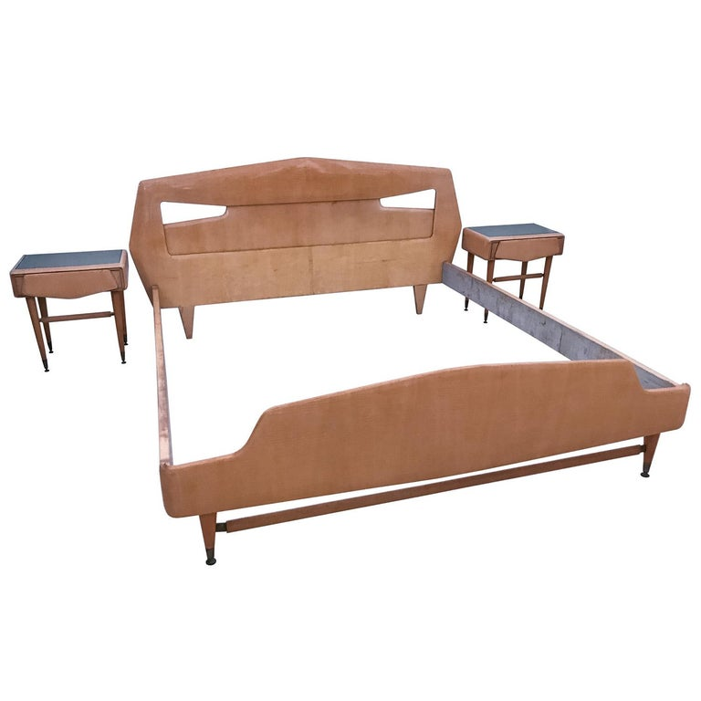 Italian Maple Bed with Bedside Tables Attributed to Silvio Cavatorta, 1950