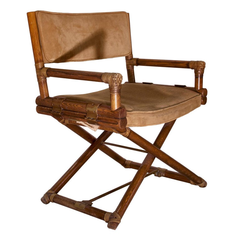 McGuire Director's X Chair in Oak and Suede leather for F.lli Tagliabue, 1960s