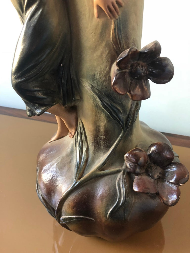 French Art Nouveau Pair of Large Terracotta Vases, circa 1910 For Sale 9