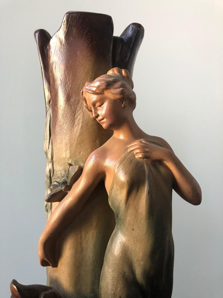French Art Nouveau Pair of Large Terracotta Vases, circa 1910 For Sale 4