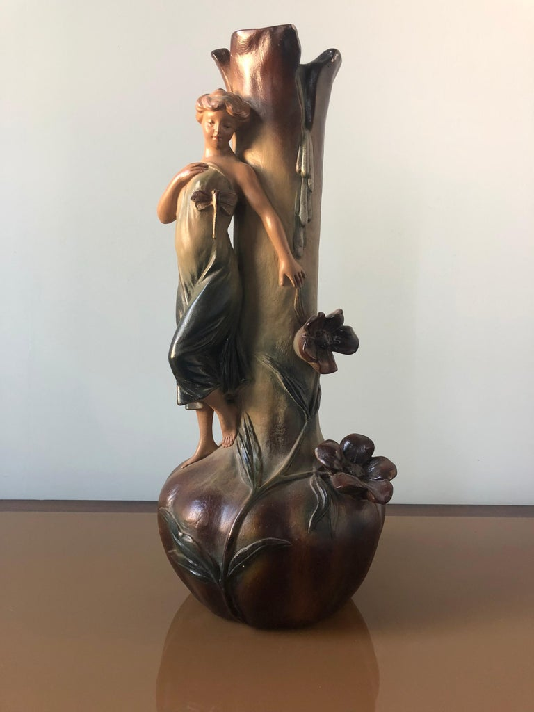 French Art Nouveau Pair of Large Terracotta Vases, circa 1910 For Sale 6