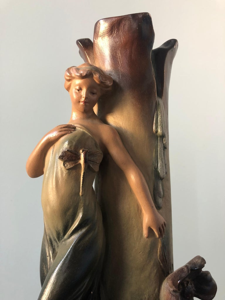 French Art Nouveau Pair of Large Terracotta Vases, circa 1910 For Sale 7