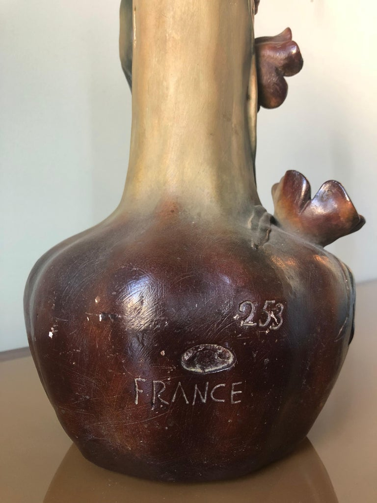 French Art Nouveau Pair of Large Terracotta Vases, circa 1910 For Sale 5